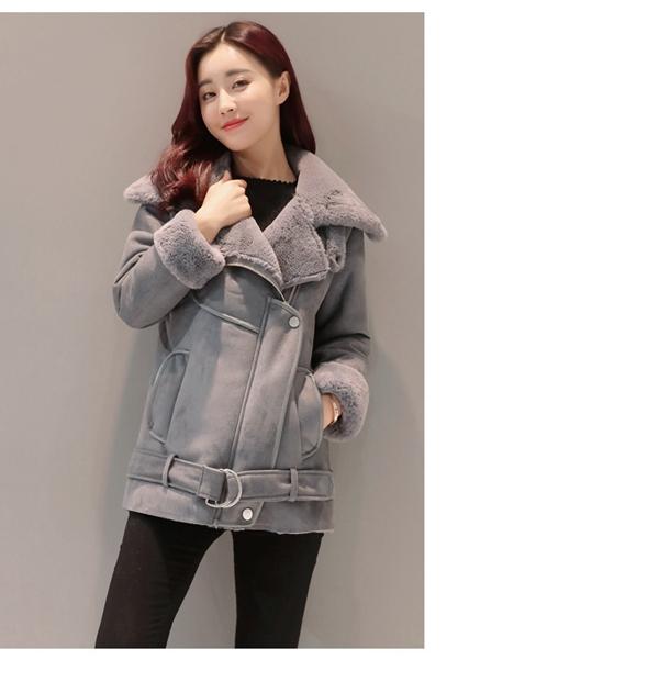 Women Suede Leather Fleece Lining Winter Jacket