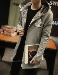Men Winter Mid-Length Hooded Fleece Lining Sport Jacket