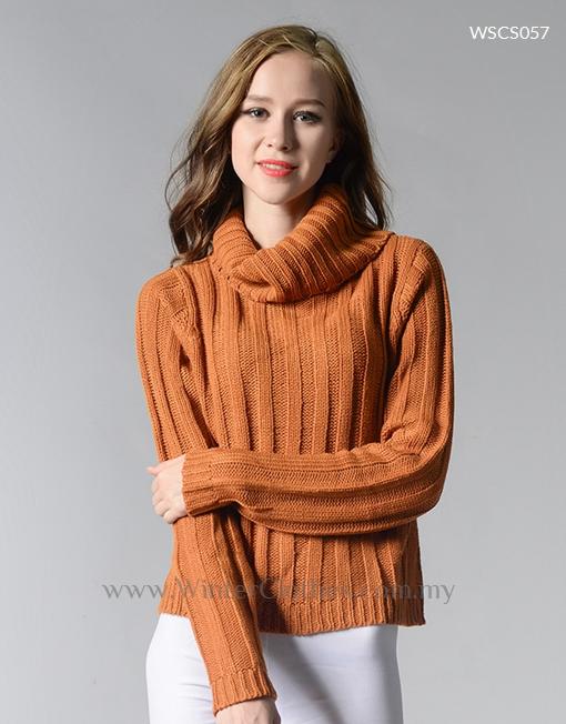 Women Rib Knit High Roll Neck Winter Cardigan