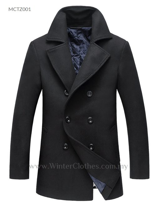 Men Formal Winter Cotton Padded Trench Coat Double Breasted