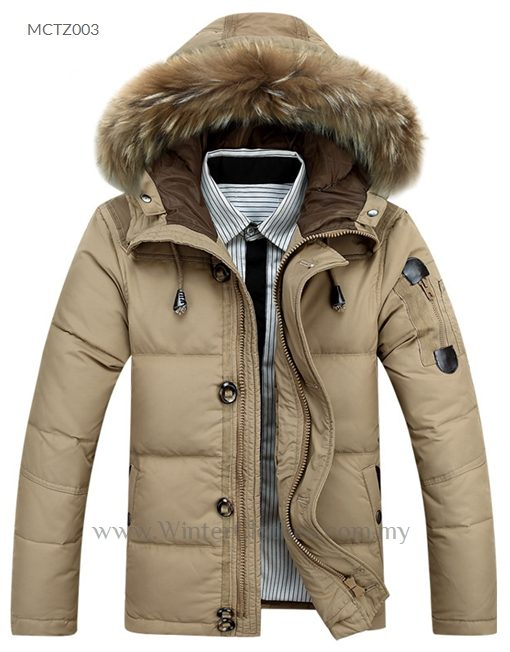 bd7d0938a45 Men White Duck Down Winter Jacket with Fur Trimmed Hooded - Winter ...