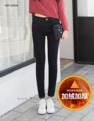 Women Slim Fit Fleece Lining Winter Jeans