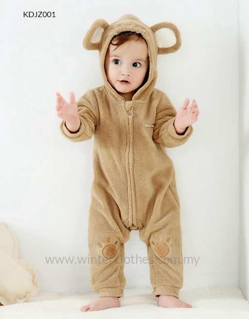 1fe4febd1638 Winter Baby Furry Romper Cute Bear Design with Coral Fleece - Winter ...