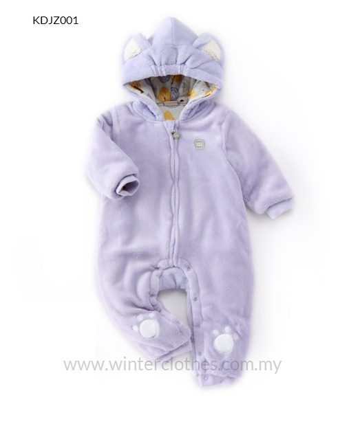 Winter Baby Furry Romper Cute Bear Design with Coral Fleece