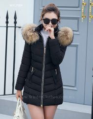 Women Winter Coat With Fur Trimmed Hood Mid Length