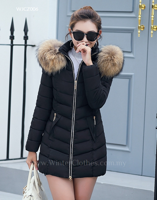 matching in colour buying new search for original Women Winter Coat With Fur Trimmed Hood Mid Length