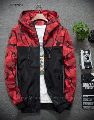 Men Jacket With Hood Camo Printed Fashion Coat