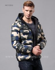 Men Camo Printed Cotton Padded Winter Jacket with Hooded