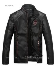 Men PU Leather Biker Jacket with Stand Collar