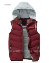 Men Winter Cotton Padded Hooded Vest