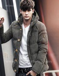 Men Winter Jacket Corduroy Cotton Padded Hooded Jacket