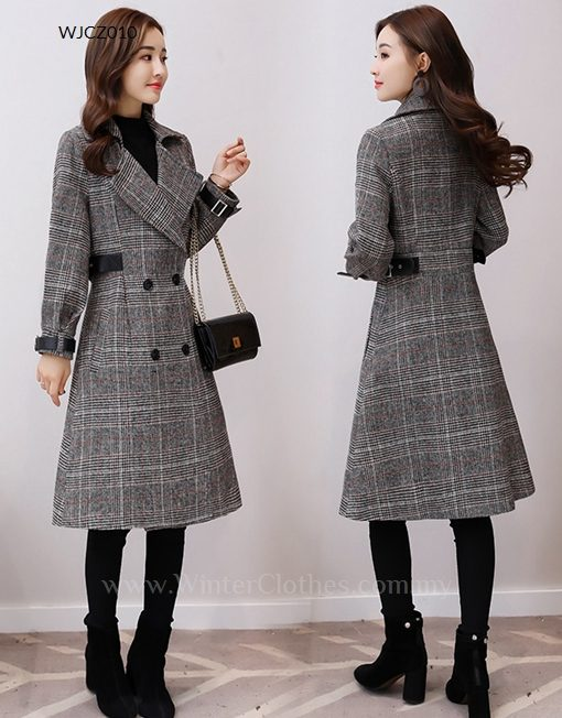 Vintage Trench Coat Plaid Long Coat For Women Winter Clothes