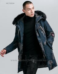 Men Fashion Winter Coat Mid-Length Winter Jacket Black Camo Printed