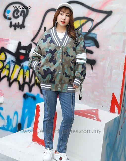 Plus Size Camo Print Varsity Jacket