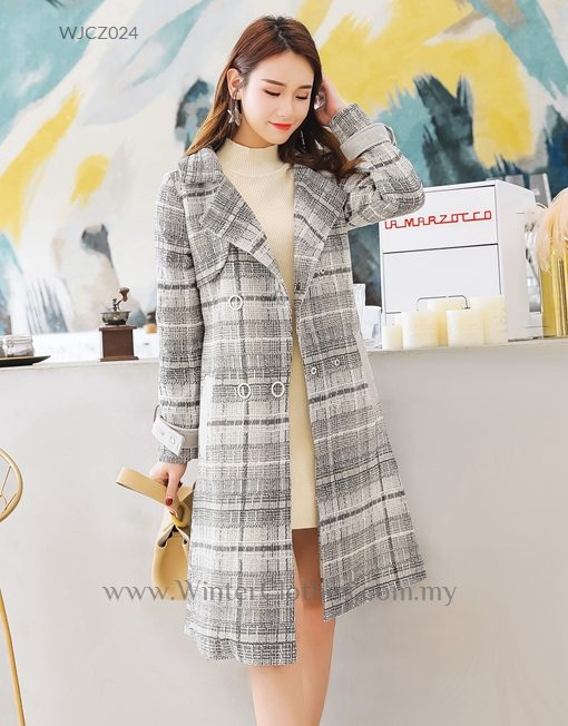Plus Size Trench Coat Gray Plaid Printed Boucle Coat - Winter Clothes