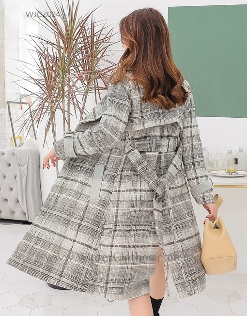 Plus Size Trench Coat Gray Plaid Printed Boucle Coat