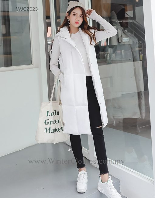 Plus Size Winter Vest Hooded Cotton Padded