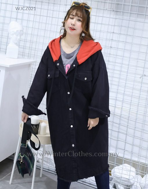 Plus Size Women Hooded Coat with Loose Cutting