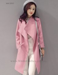 Solid Sweet Color Trench Coat for Women