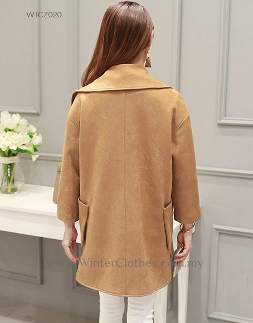 Women PU Leather Trench Coat Simple Loose Design
