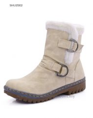 Women PU Leather Winter Mid-Calf Boot with Fleece Lining