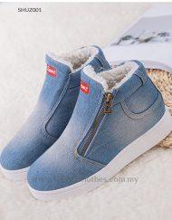 Women Winter Shoes Denim Winter Sneakers with Fleece Lining