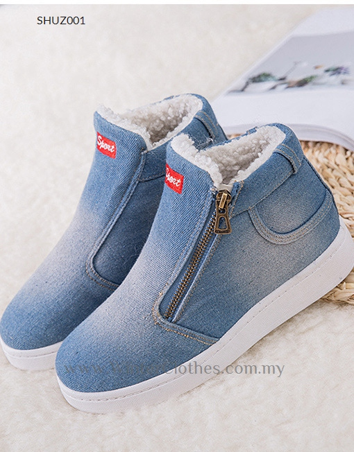 Women Winter Shoes Denim Winter Sneakers with Fleece Lining - Winter ... 4848bc318f3d