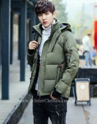 Winter Men White Duck Down Jacket With Hood Slim Fit Cutting