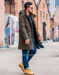 Men Plus Size Cotton Padded Mid Length Winter Coat