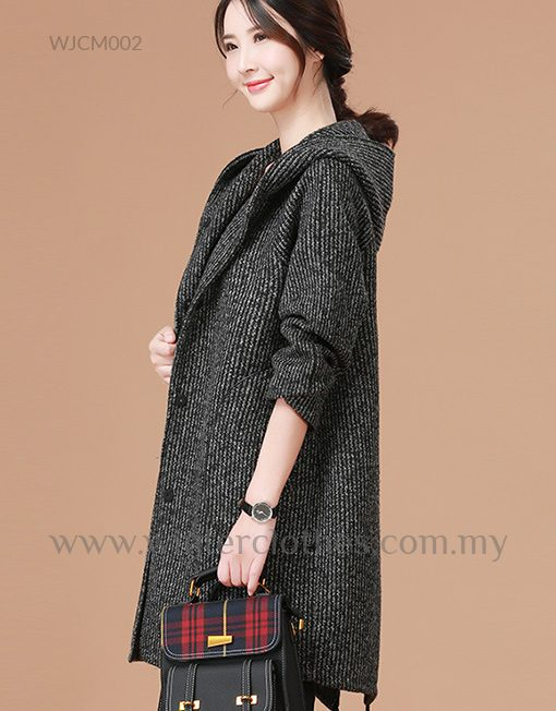 Simple Design Hooded Single Breasted Women Coat