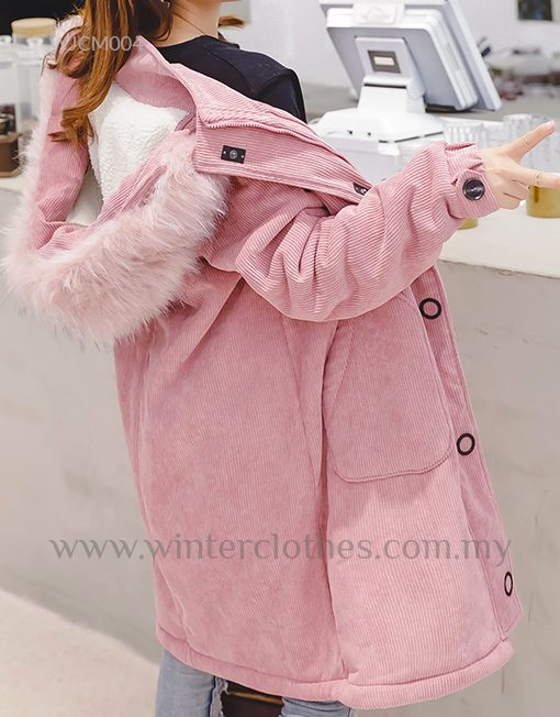 Women Plus Size Polar Fleece Lining Corduroy Coat