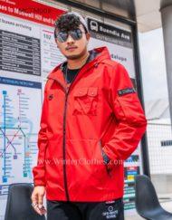 Plus Size Men Wind Breaker Hooded Jacket