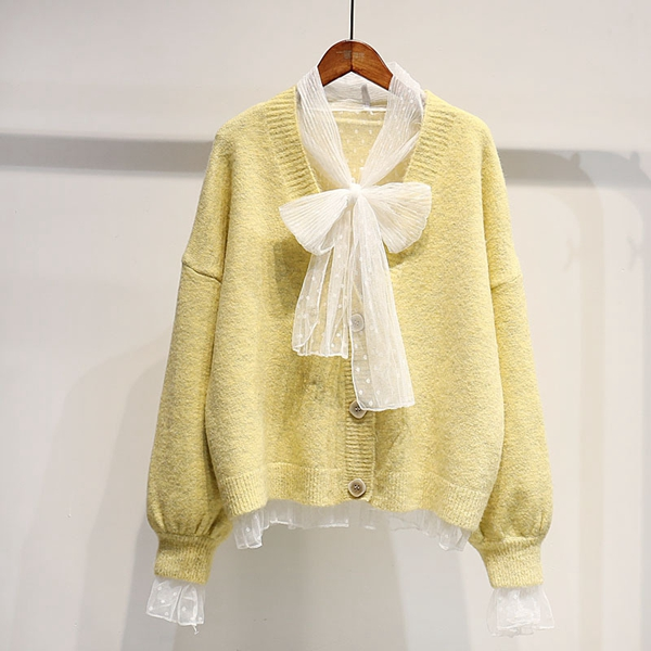 Women 4 Soft Color Loose Style Knit Jacket