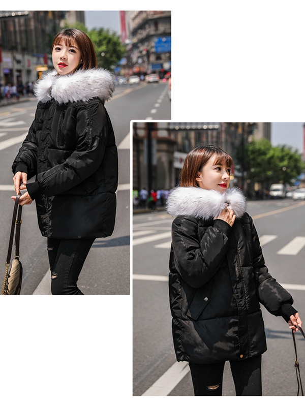 Women Loose Style Short Padded Jacket with Fur Trimmed Hood