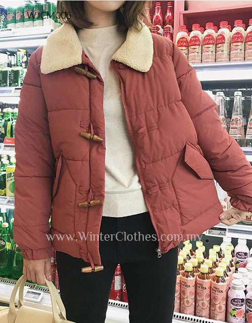 Women Tonggle Button WInter Padded Jacket with Fleece Lined Lapel