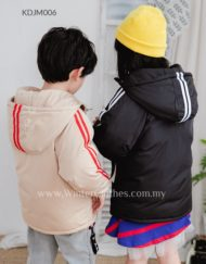 Kids Duck Down Short Jacket With Stripe Design