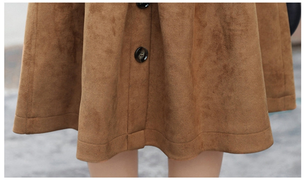 Women Suede Leather Knee Length Trench Coat