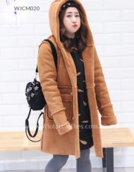 Lady Plus Size Faux Suede Wool Duffle Coat