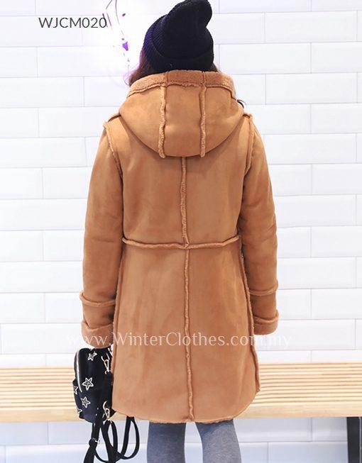 Lady Plus Size Faux Suede Wool Duffle Coat