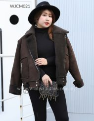 Plus Size Women Biker Jacket PU Suede Coat