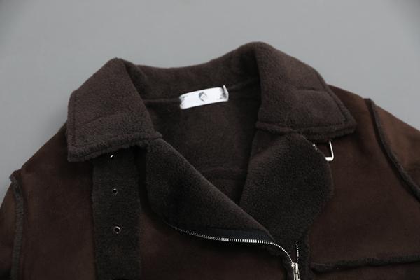 Plus Size Women Biker Jacket PU Suede Coat