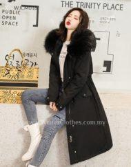 Women Fleece Lining Slim Fit Padded Long Coat
