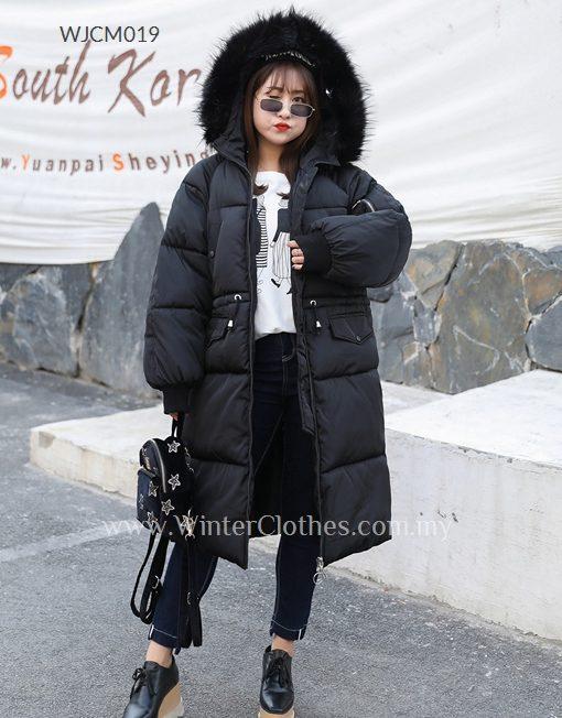 Women Plus Size Faux Fur Trimmed Knee Length Padded Coat