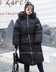 Women Plus Size Faux Fur Trimmed Knee Length Padded Coat