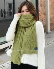Classic Winter Cable Knit Scarf with Solid Color
