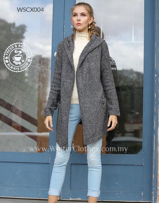 Women Easy Wear Open Front Mid Length Hooded Cardigan