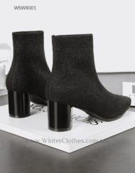 Women 6cm Block Heels Fleece Lining Winter Fashion Boots