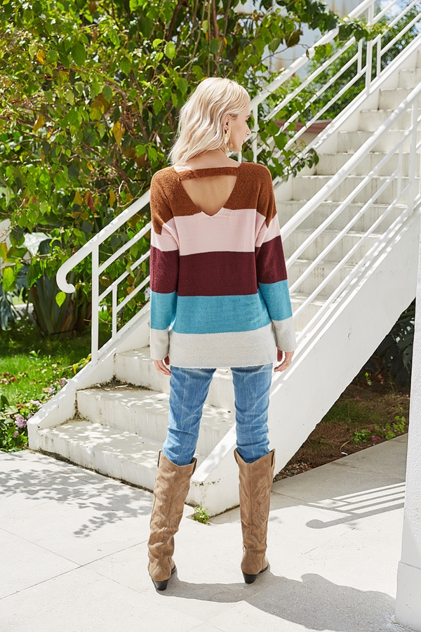 Women Loose Cut V Neck Sweater Pullover