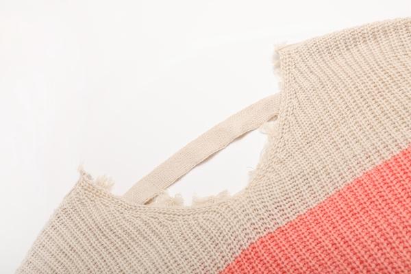 Women Striped Design Colourful Oversized Pullover
