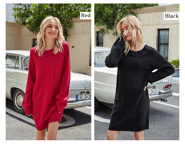 Women Cable Round Neck Knit Jumper with Solid Color